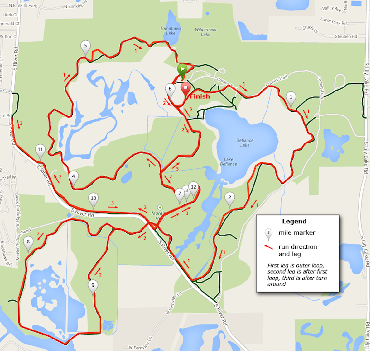 Moraine Hills Run for the Hills 10K and Half Marathon Route Map