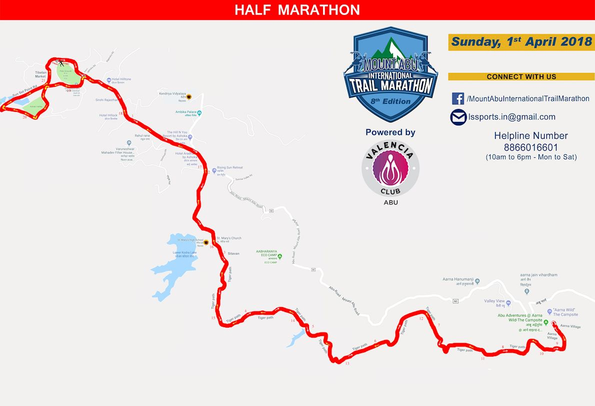 Mount Abu Trail Marathon MAPA DEL RECORRIDO DE