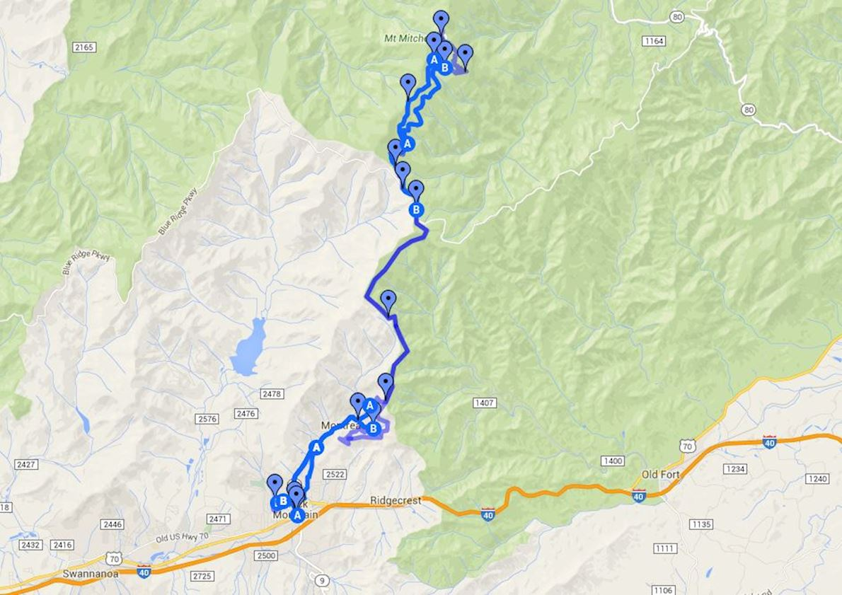 Mount Mitchell Challenge Route Map
