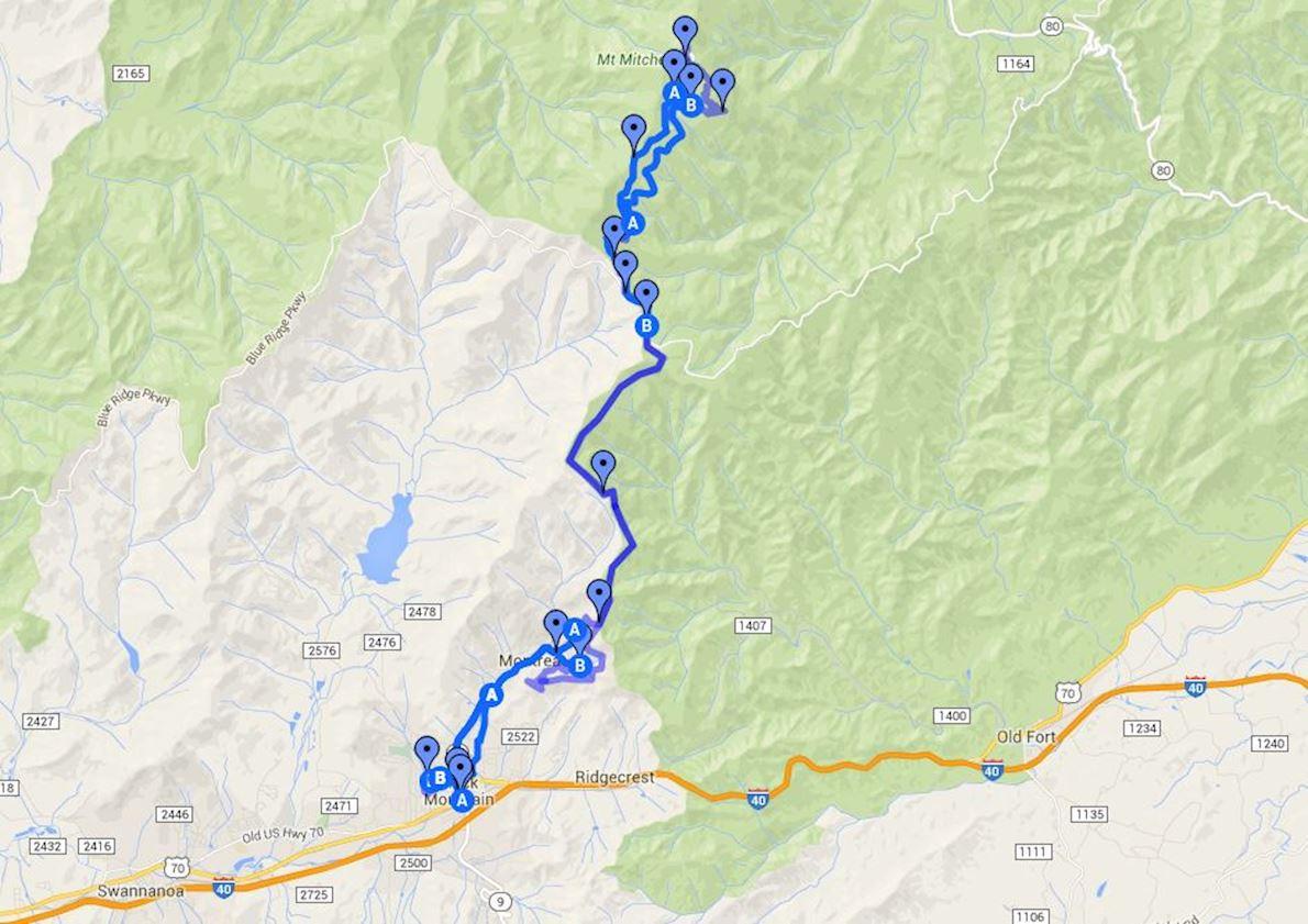 Mount Mitchell Challenge Routenkarte