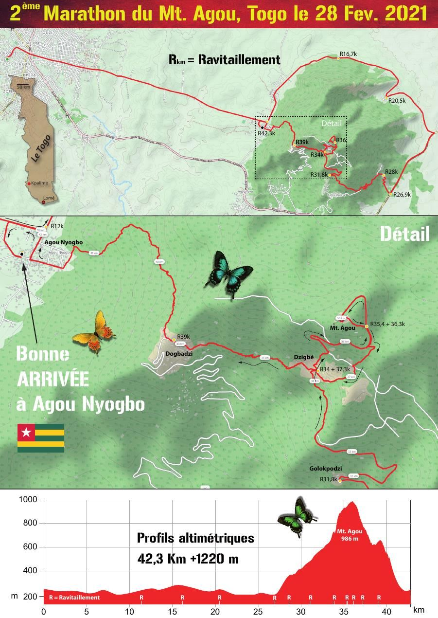 Trail-Marathon du Mt. Agou Route Map