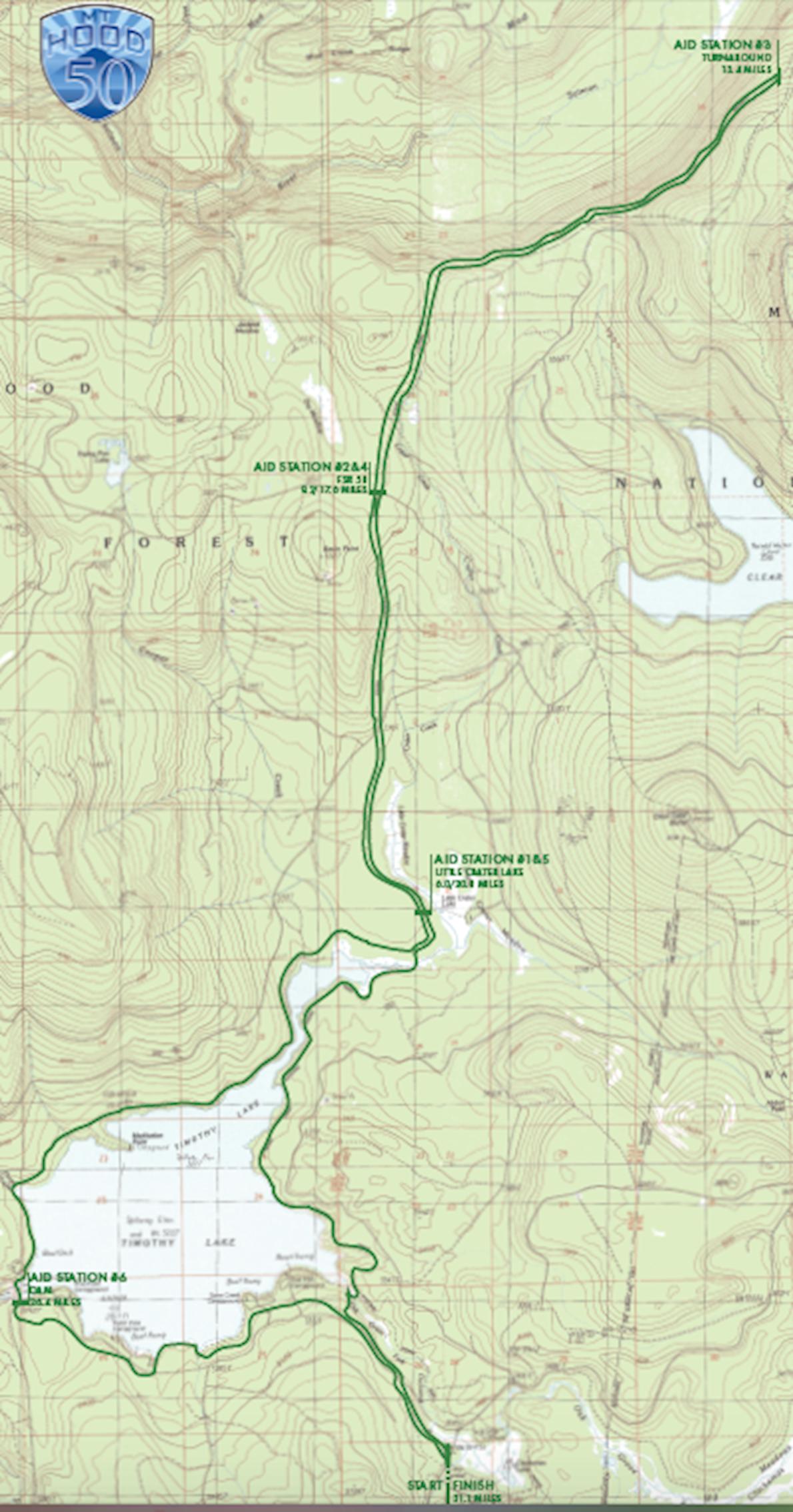 Mt. Hood 50km Mappa del percorso