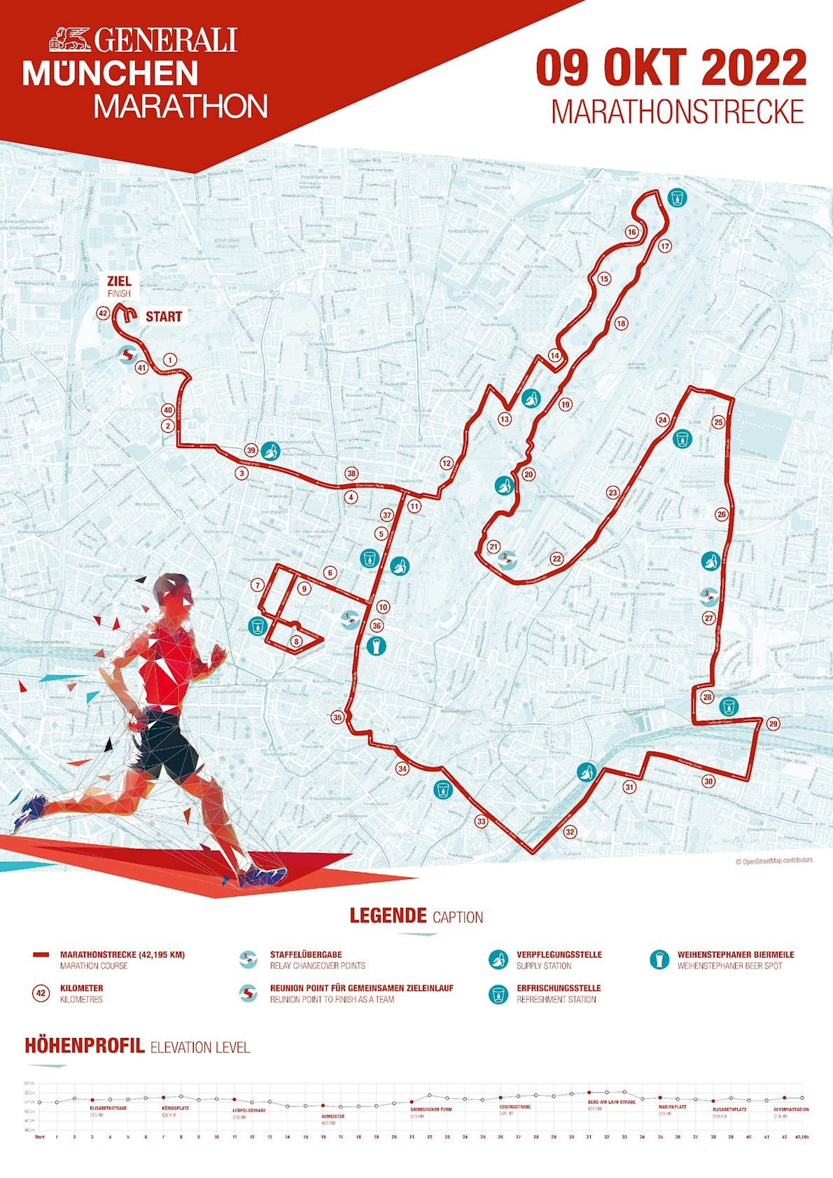 Generali München Marathon Routenkarte