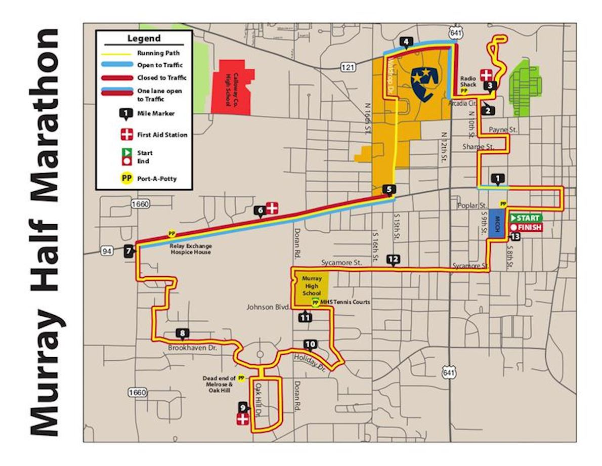 David Taylor Chrysler Murray Half Marathon, 5K  & Relay MAPA DEL RECORRIDO DE