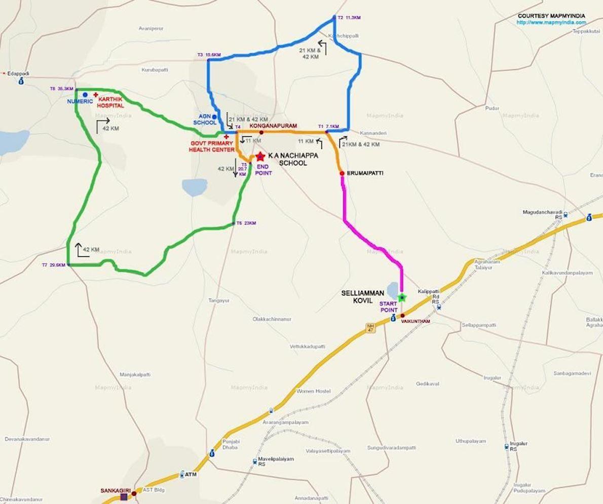 Mutthu Marathon Mappa del percorso