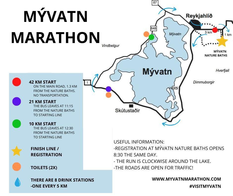 Mývatn marathon, north Iceland Route Map