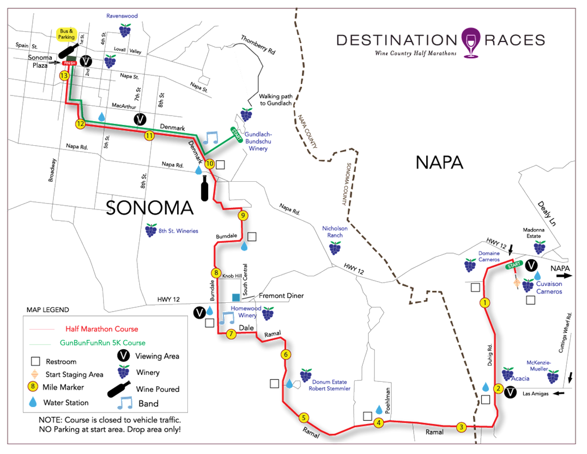 Napa-to-Sonoma Wine Country Half Marathon Route Map