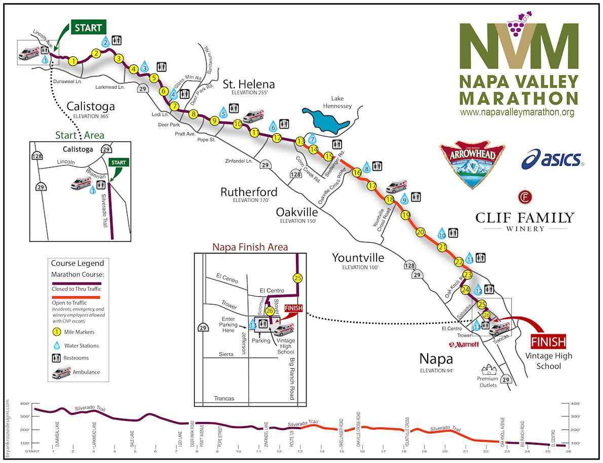 Napa Valley Marathon Routenkarte