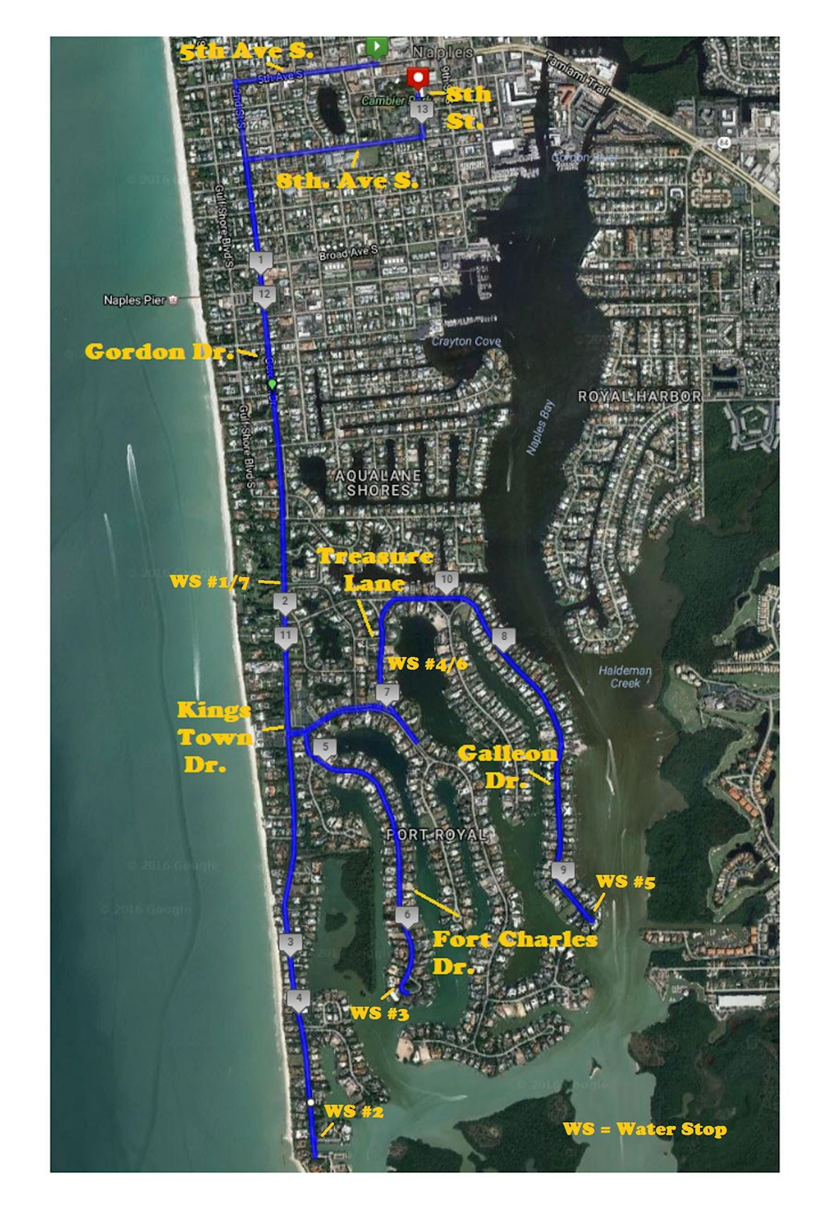 Naples Daily News Half Marathon 路线图