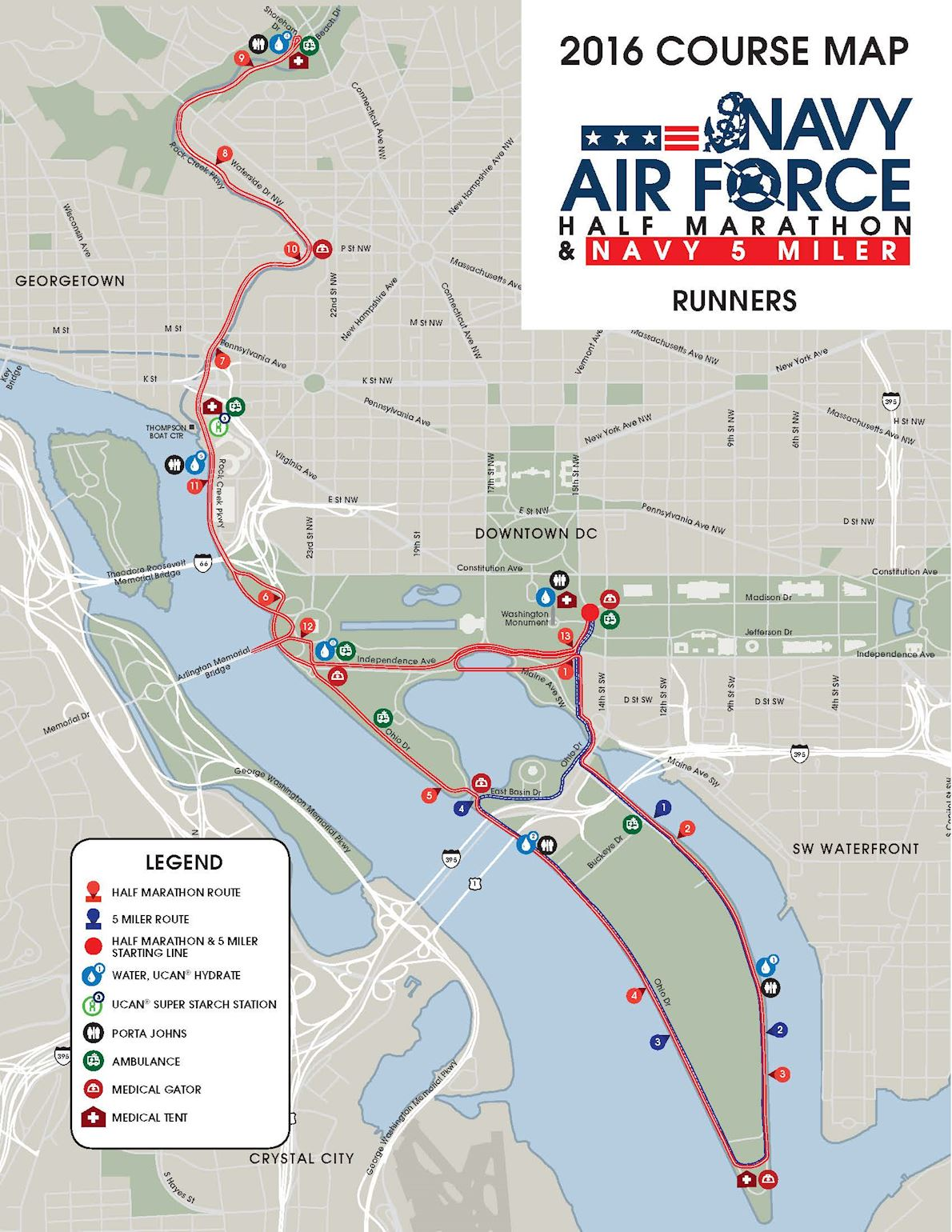 Navy-Air Force Half Marathon Route Map