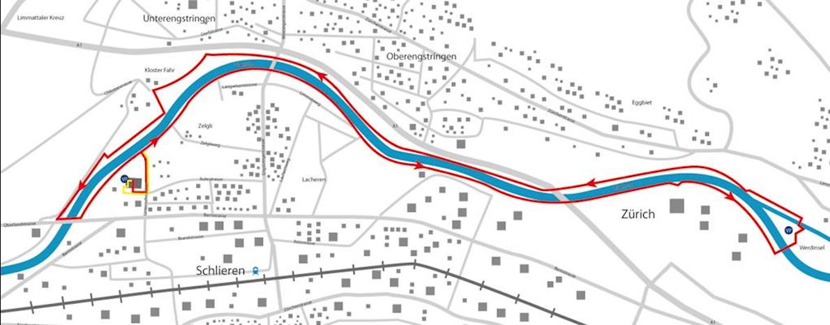 Neujahrsmarathon Zürich - New years marathon Zurich Routenkarte