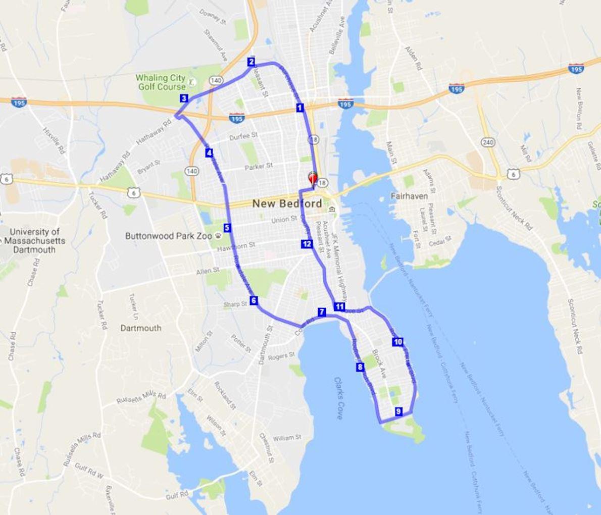 New Bedford Half Marathon Routenkarte