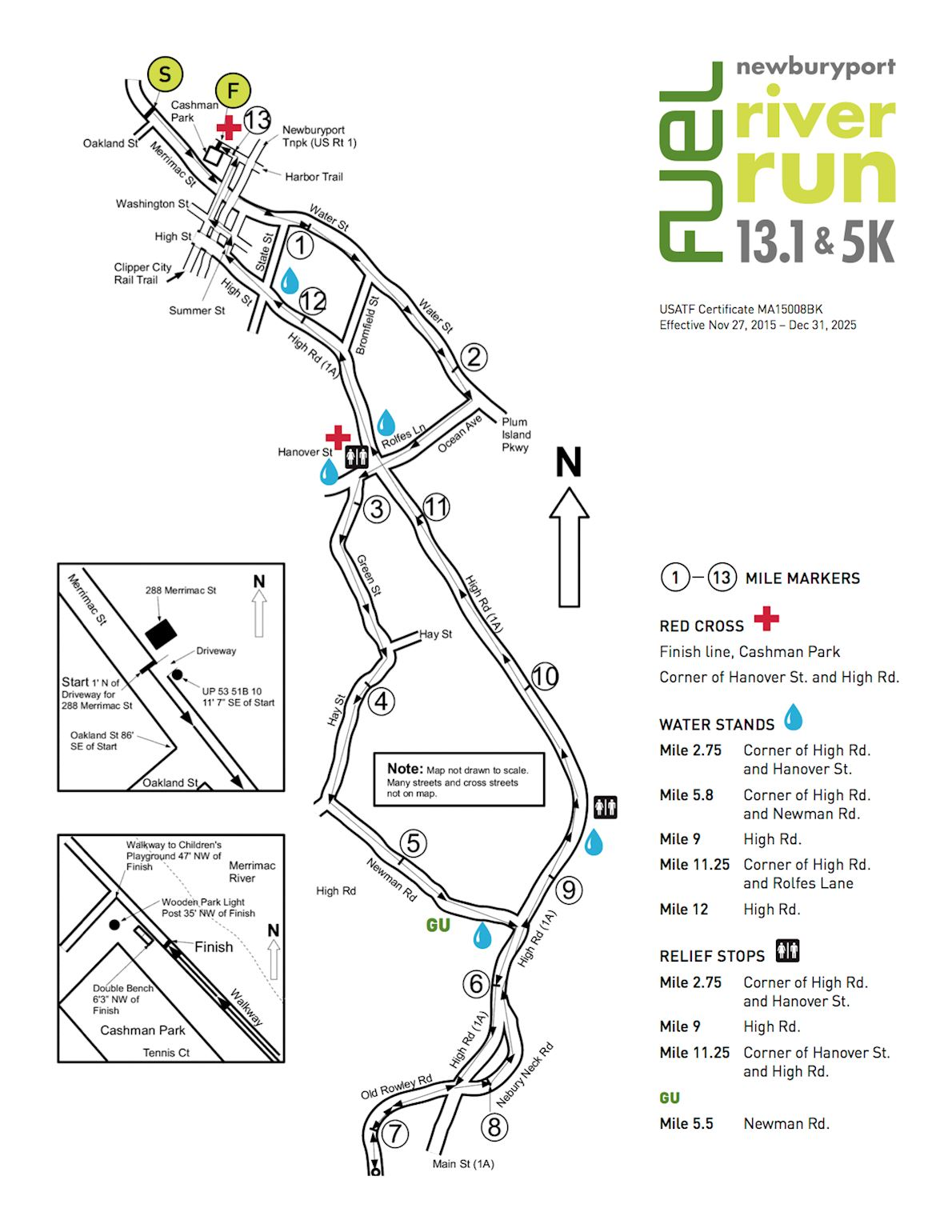 Newburyport River Run Half Marathon 路线图
