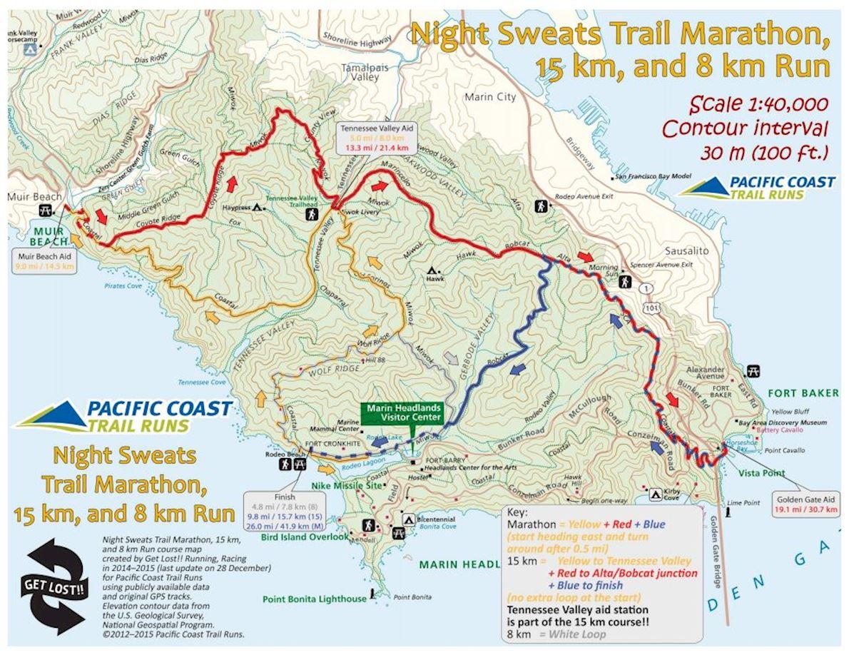 Night Sweats Spring Mappa del percorso