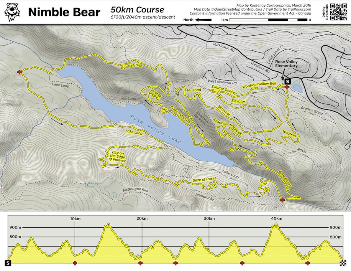 Nimble Bear Trail Race Routenkarte