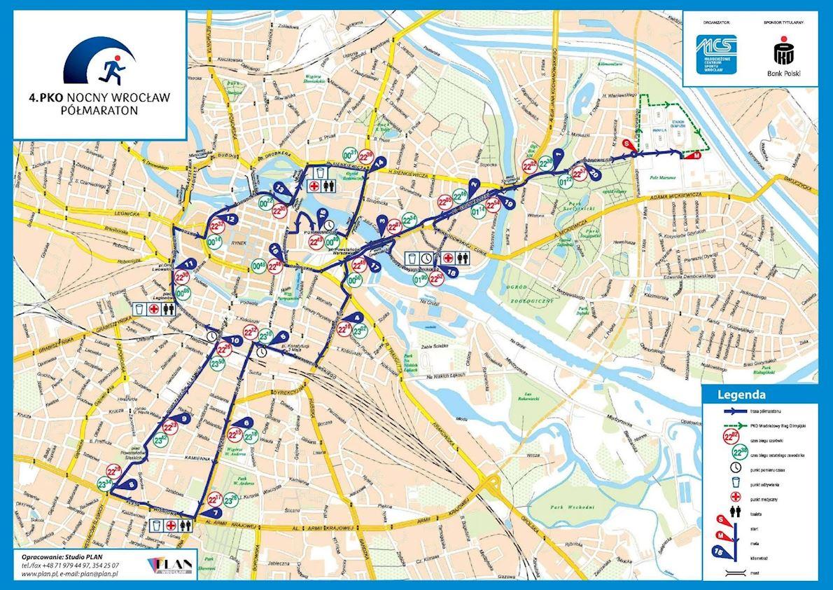 Wroclaw Półmaraton Route Map