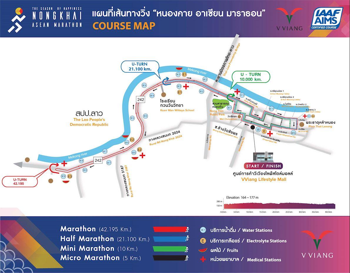 Nongkhai Asean Marathon Route Map