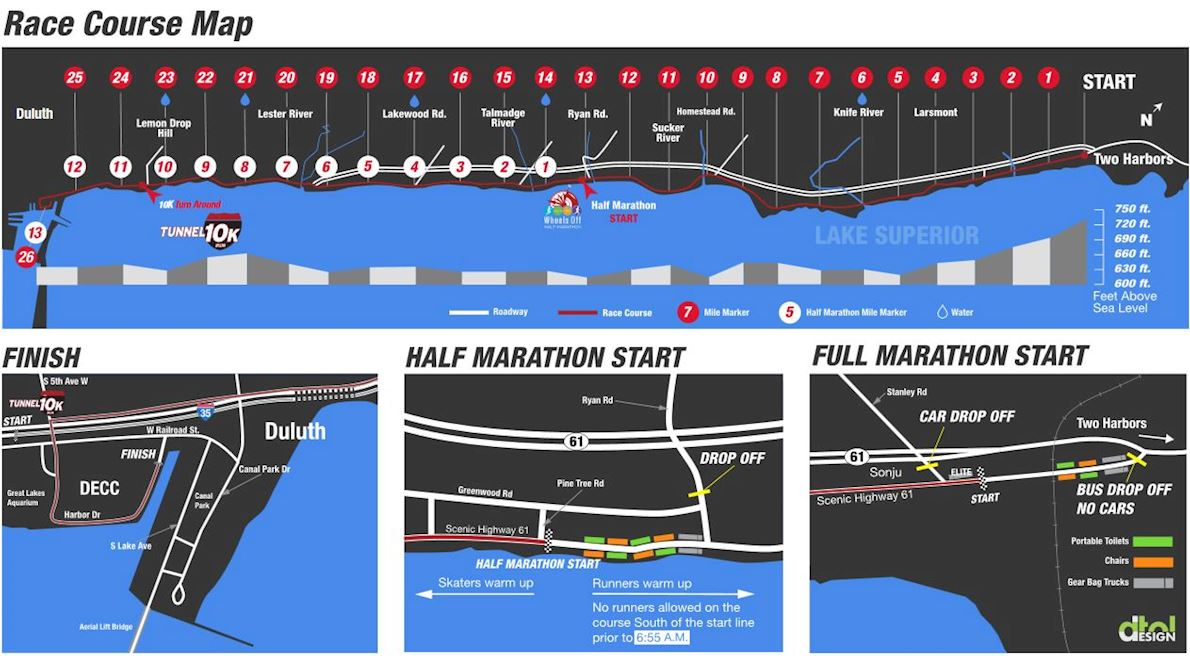Northshore Inline Marathon Route Map