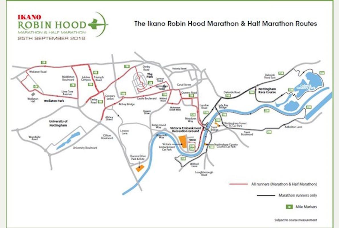 Robin Hood Half Marathon Route Map