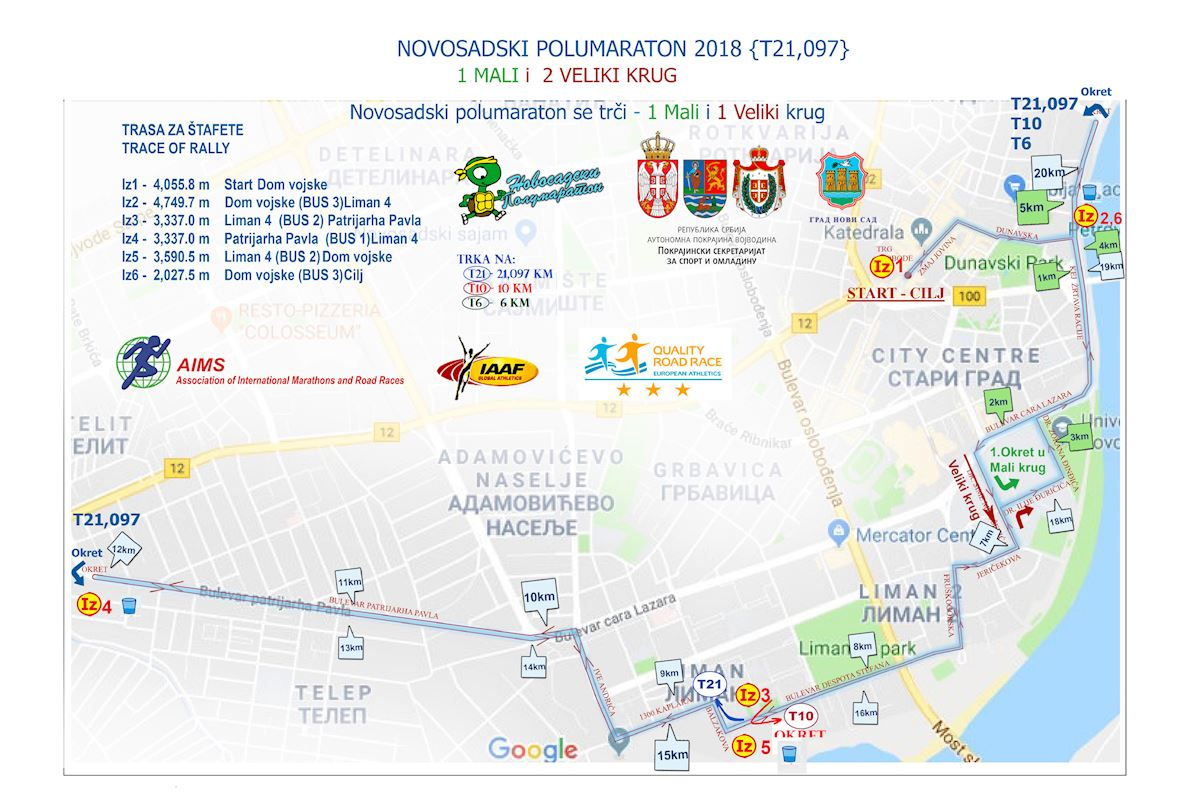 27th Novi Sad Half Marathon Route Map