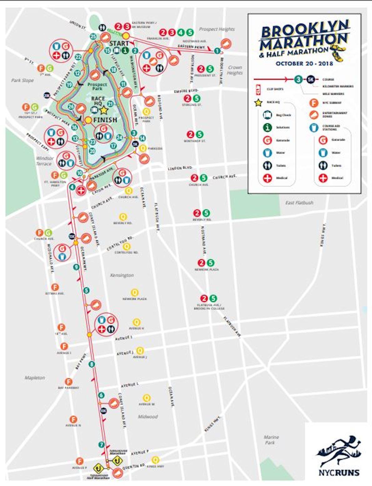 NYCRUNS Brooklyn Marathon & Half Marathon Route Map
