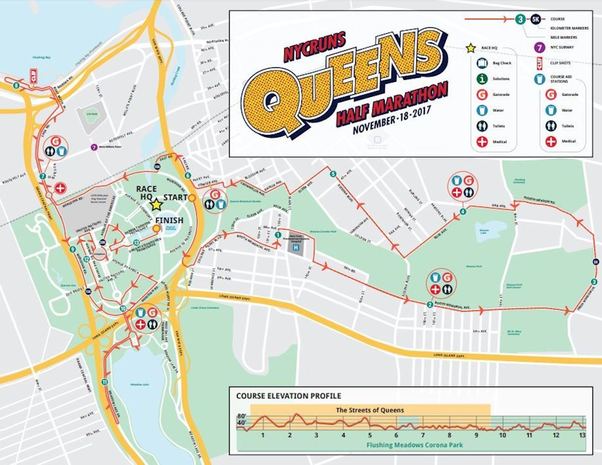 NYCRUNS Queens Falling Leaves  Half Marathon Mappa del percorso