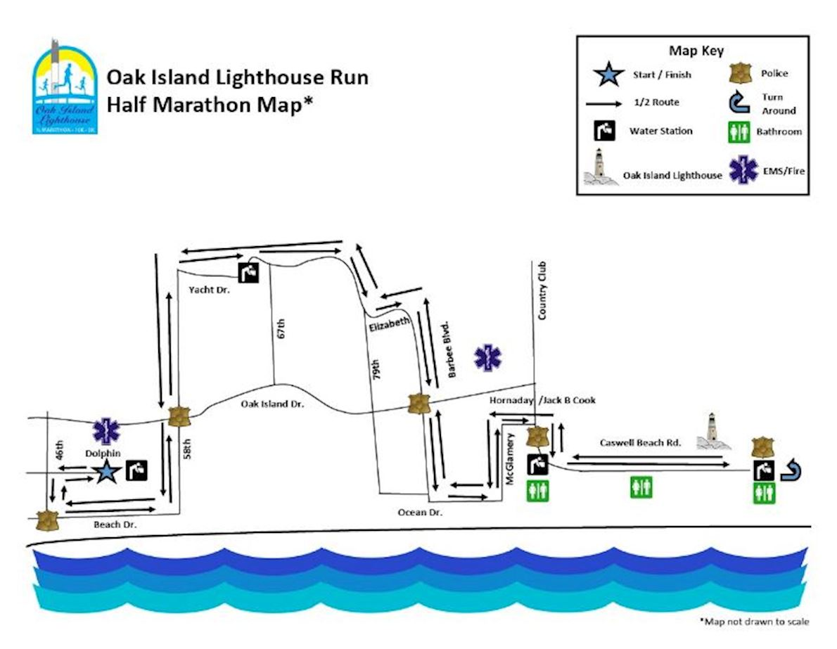Oak Island Lighthouse Run & Walk Mappa del percorso
