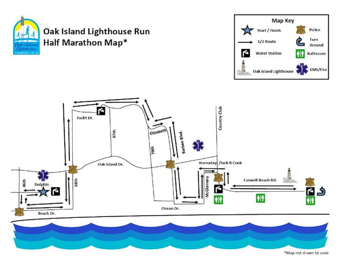 Oak Island Lighthouse Run & Walk 路线图