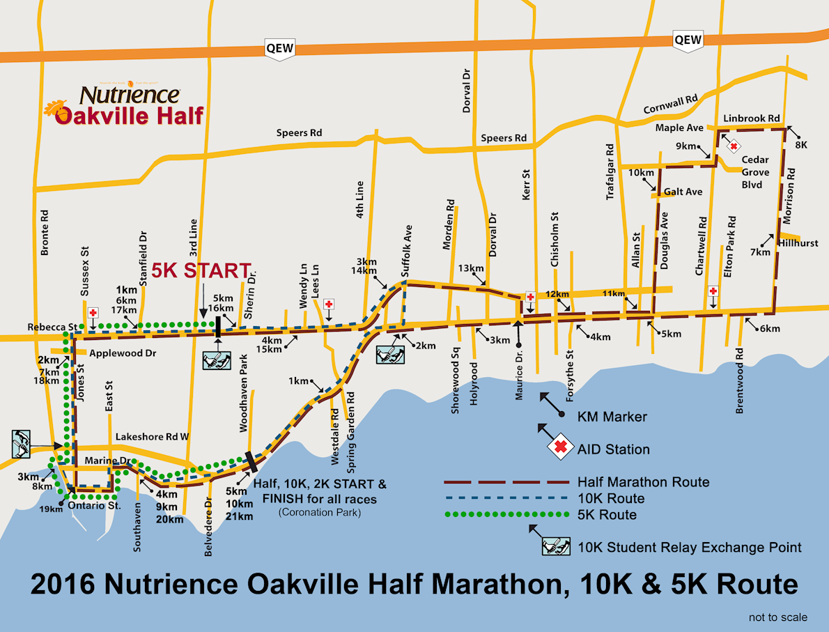 Oakville Half Marathon Route Map