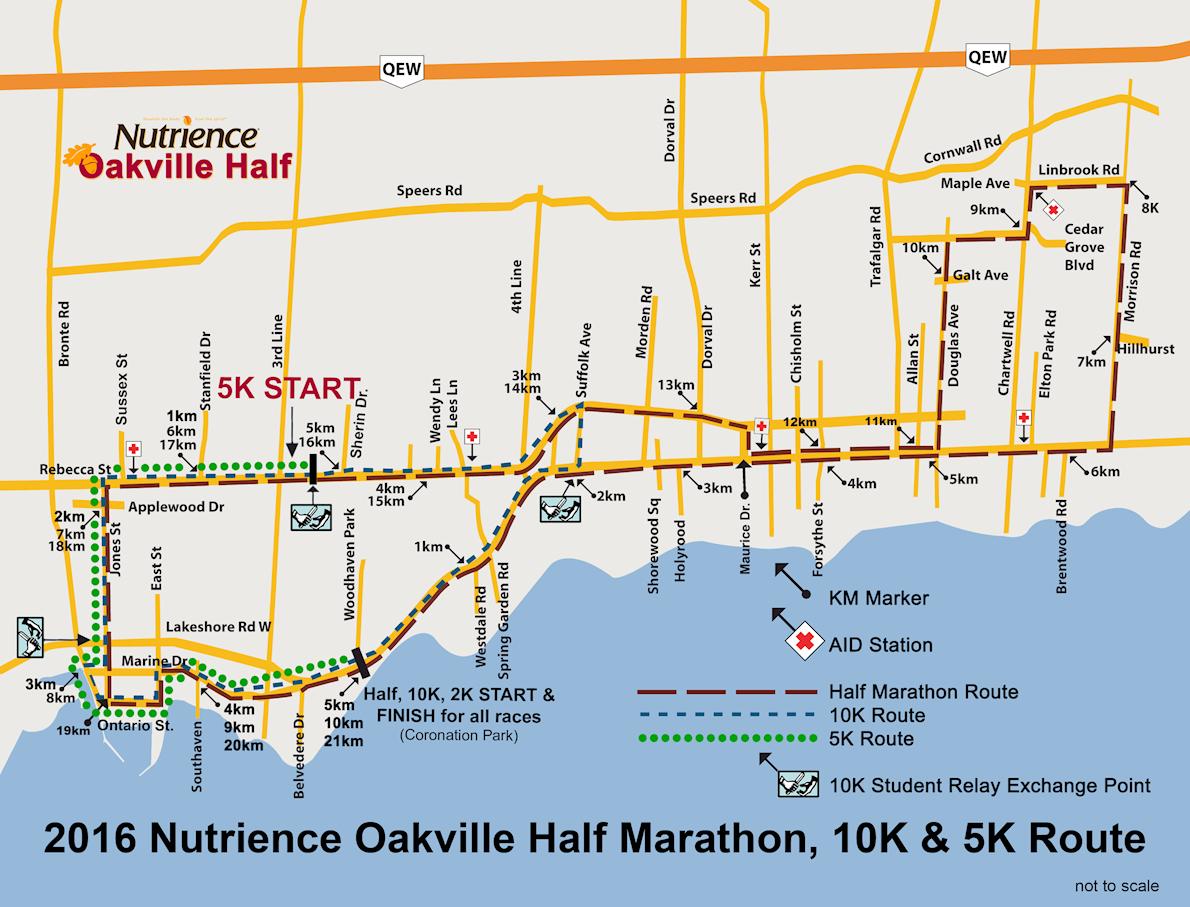 Oakville Half Marathon Routenkarte