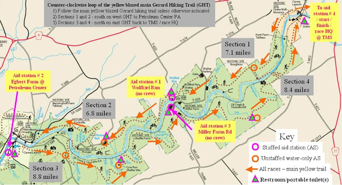 Oil Creek 100 Trail Runs 路线图
