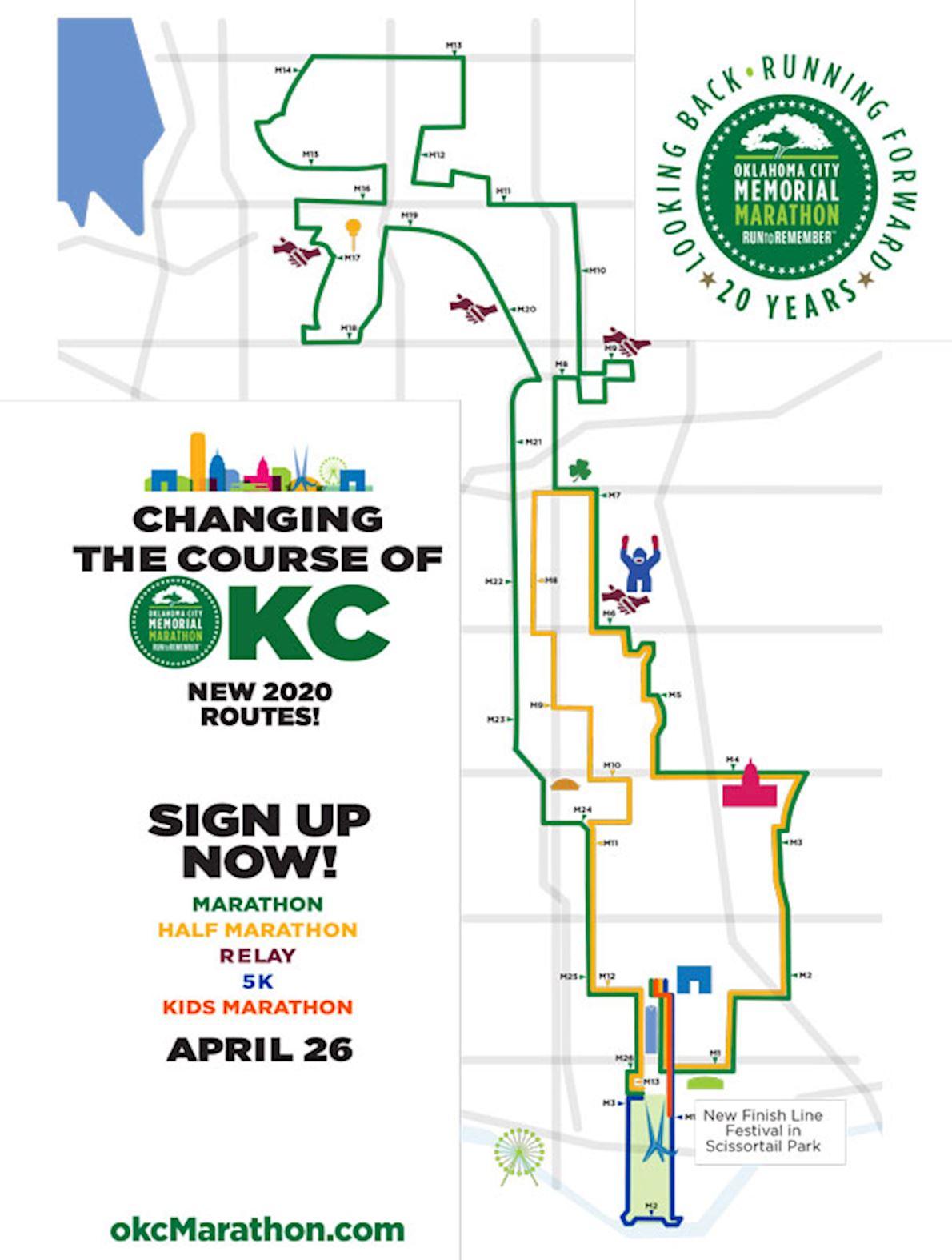 Oklahoma City Memorial Marathon Mappa del percorso