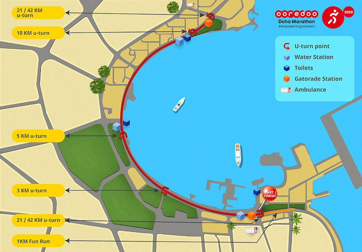 Ooredoo Doha Marathon Route Map