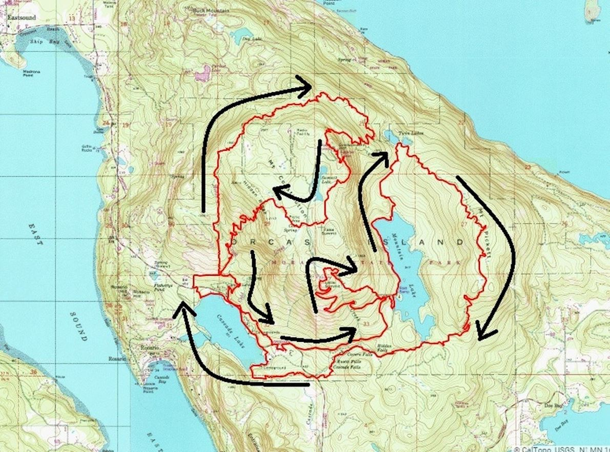 Orcas Island 100 Route Map
