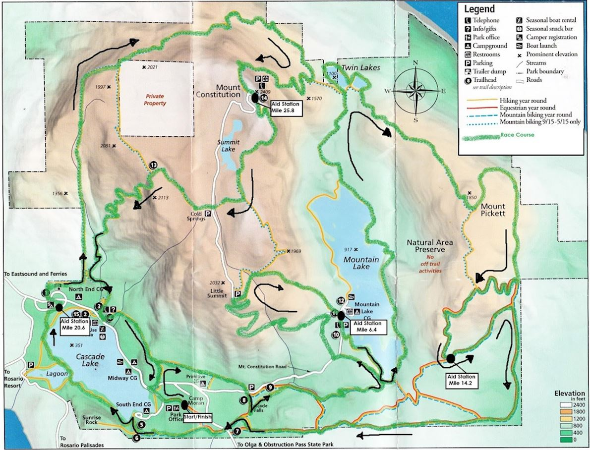 Orcas Island 50K Route Map