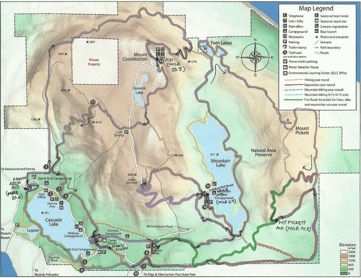 Orcas Island 50km 路线图