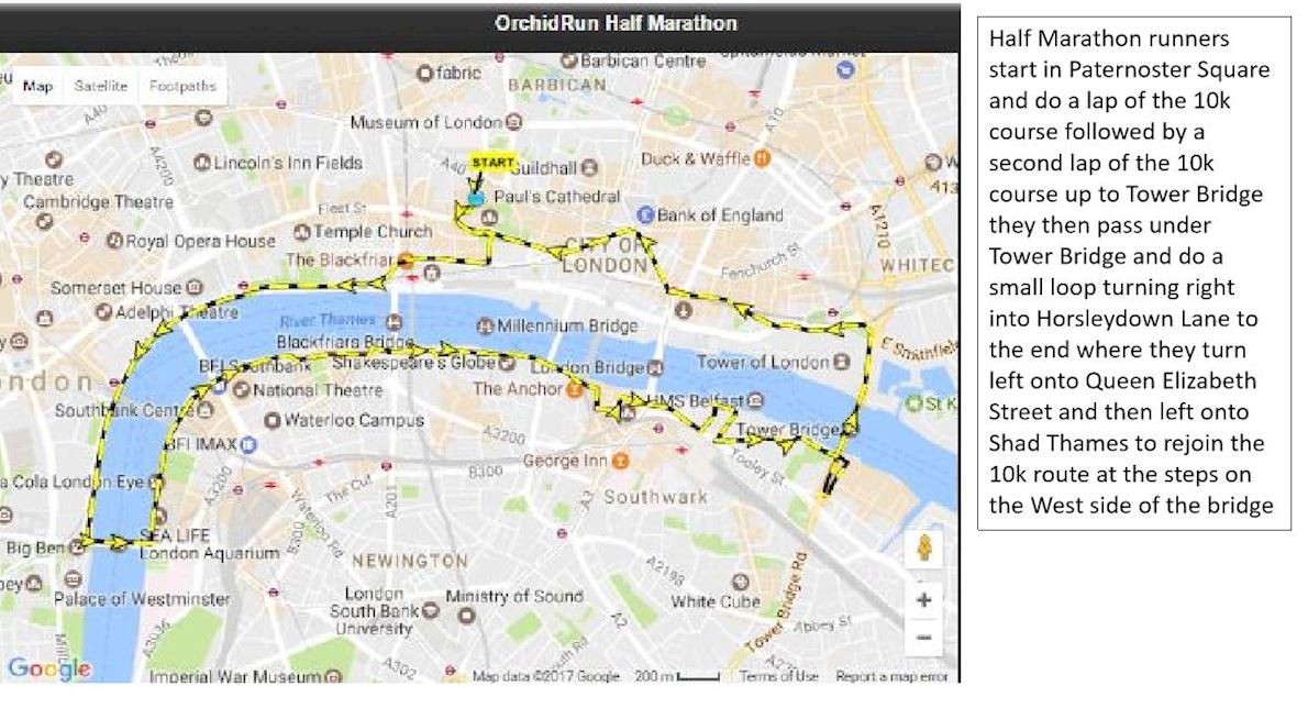 Orchid River Run Half Marathon 路线图
