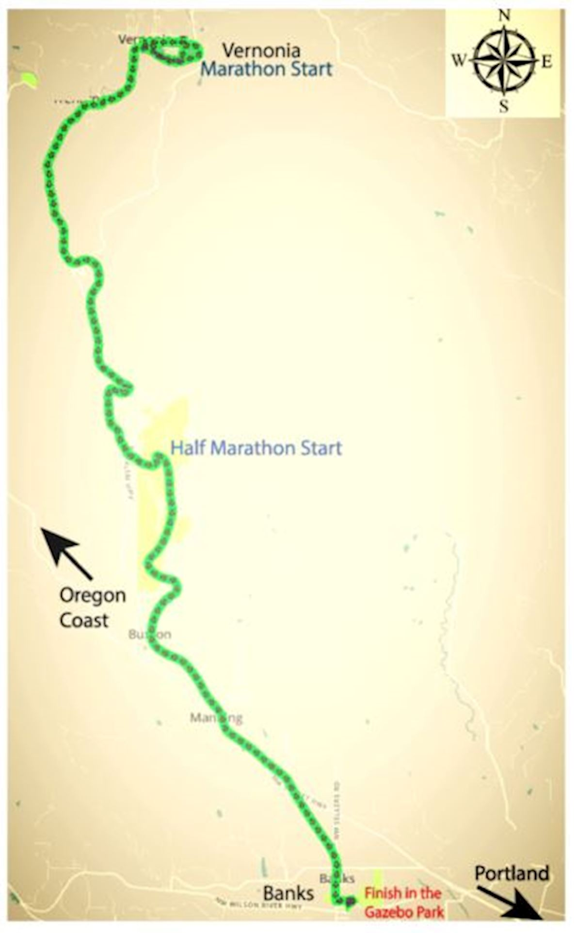 Oregon Summer Marathon Route Map
