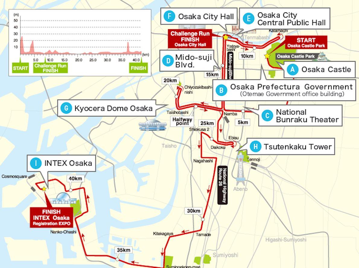 Osaka Marathon MAPA DEL RECORRIDO DE