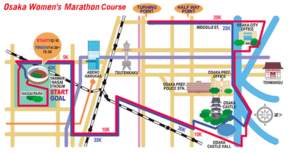 Osaka International Women's Marathon Mappa del percorso