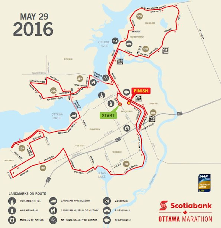 ScotiaBank Ottawa Marathon Routenkarte