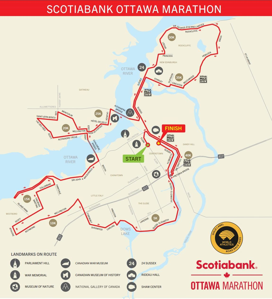 ScotiaBank Ottawa Marathon Route Map