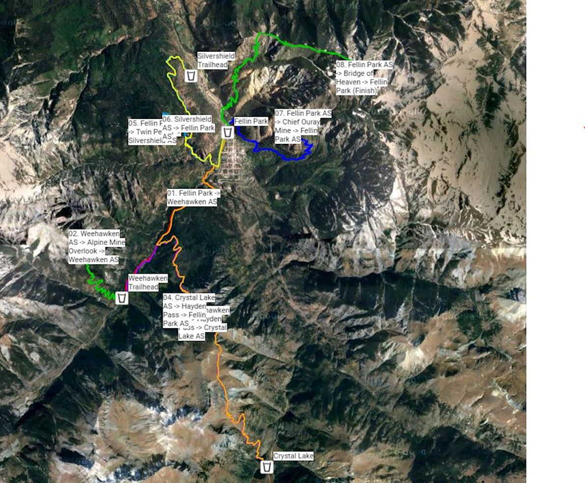 Ouray 100 Endurance Run MAPA DEL RECORRIDO DE