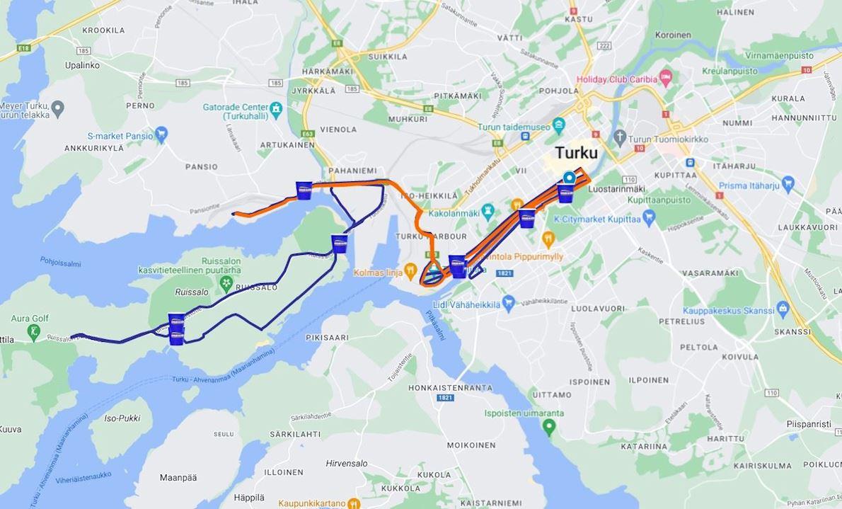 Paavo Nurmi Marathon Turku Finland Routenkarte