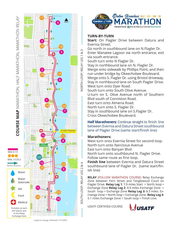 Garden of life Palm Beaches Marathon Mappa del percorso