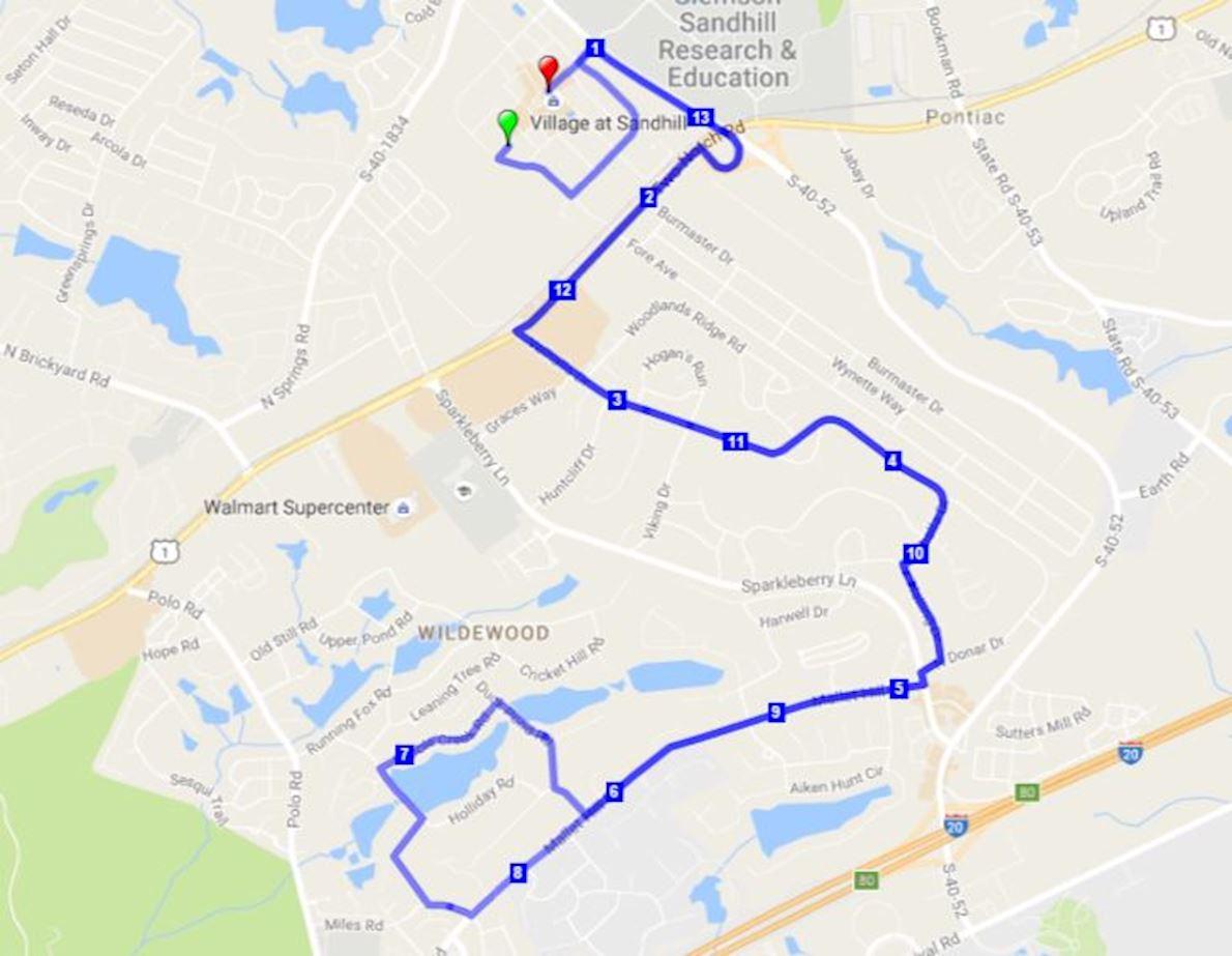 Palmetto Half Marathon 路线图