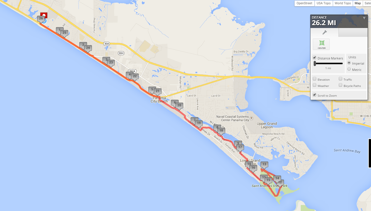 Panama City Beach Marathon Routenkarte