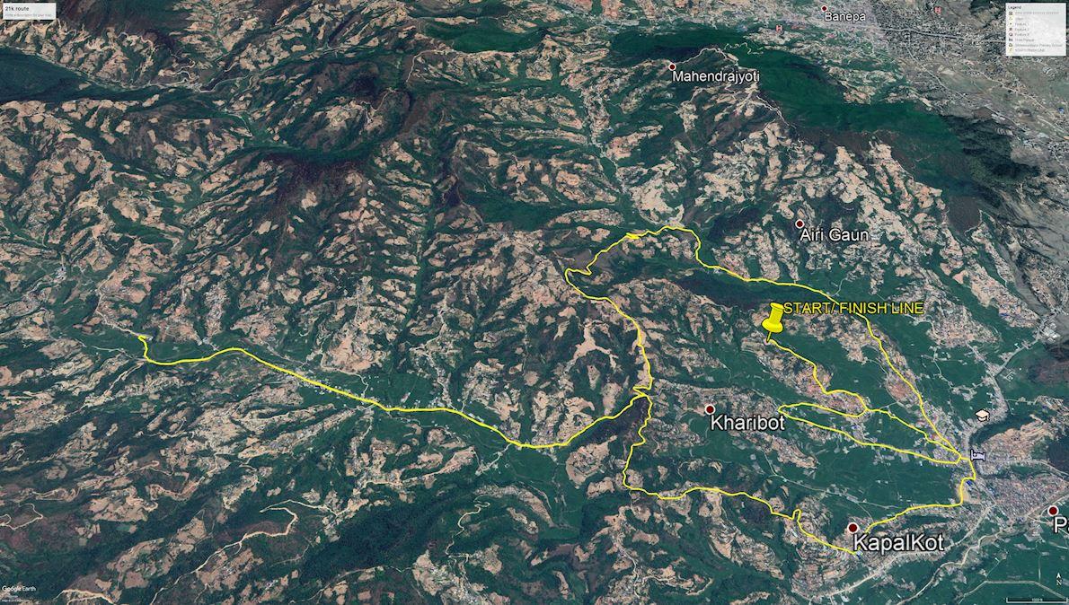Panauti Mental Health Half Marathon 2020 Route Map