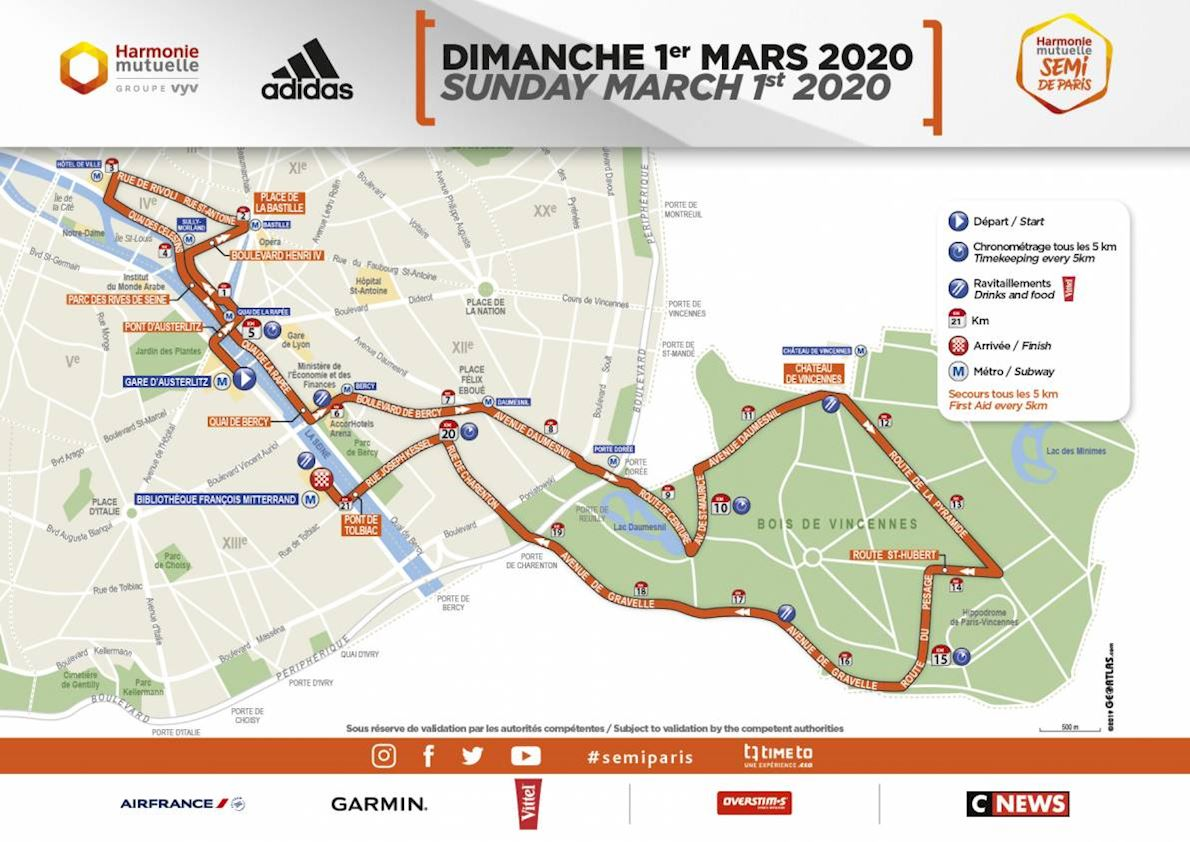 Harmonie Mutuelle Semi-marathon de Paris Route Map