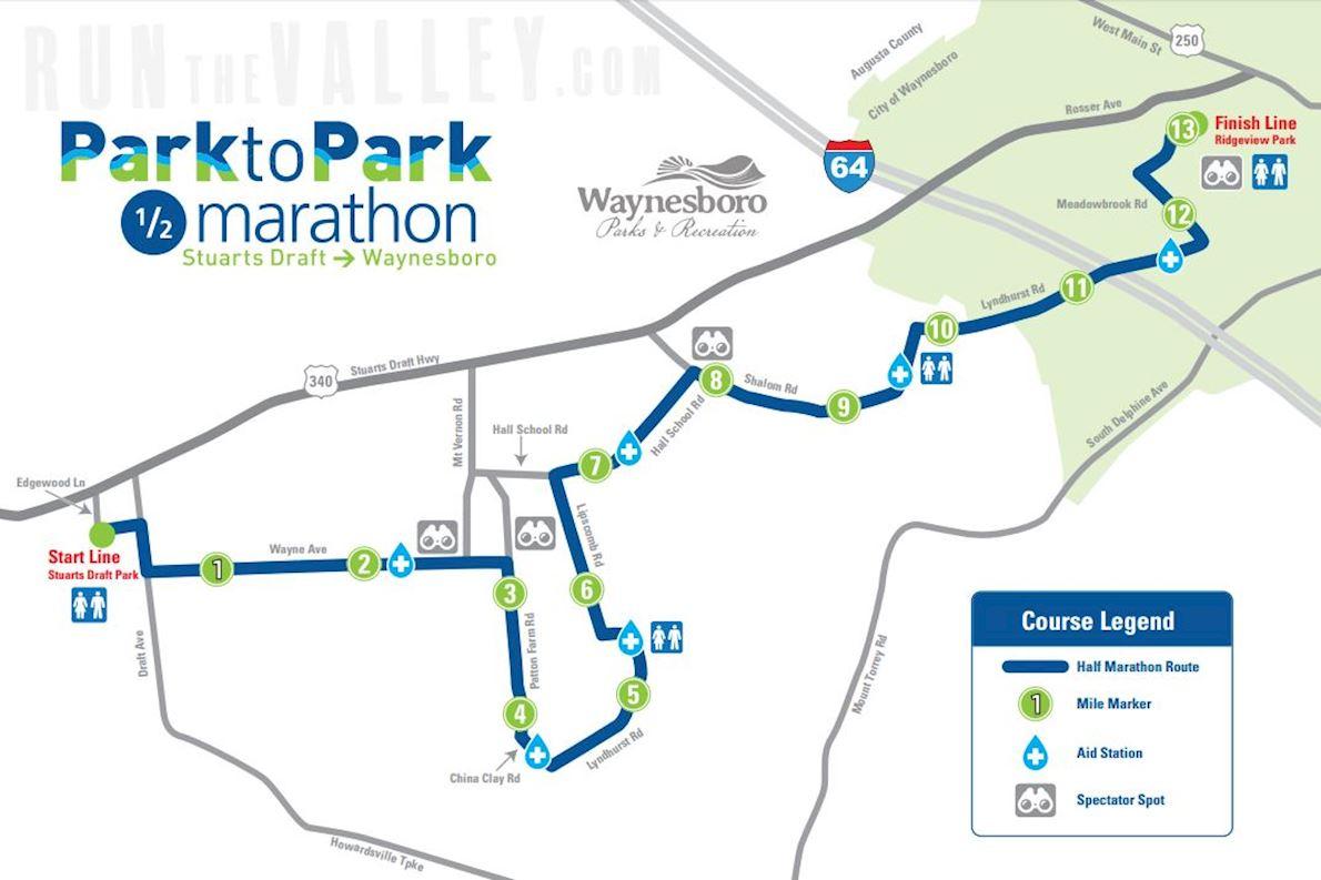 Run the Valley Park to Park 1/2 Marathon MAPA DEL RECORRIDO DE
